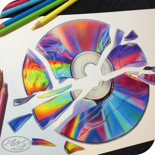 ترکیب رنگی با لایه بندی مداد
