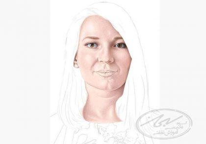 طراحی چهره در تکنیک مداد رنگی